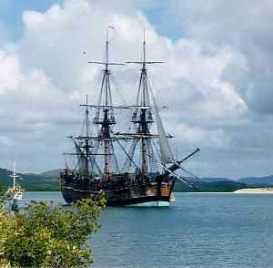 Replica of James Cook's ship, HMB Endeavour, in Cooktown Harbour, 1988